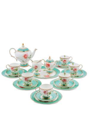 Чайный сервиз на 6 перс. Роза (Milano Rose Pavone) Pavone. Цвет: белый, бирюзовый, розовый