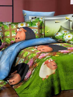 Комплект постельного белья Dream time. Цвет: зеленый, голубой, черный