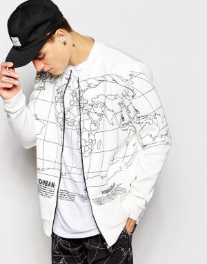 Ichiban Куртка-пилот с принтом в виде карты мира