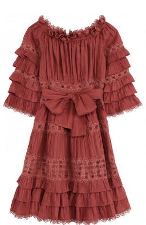 Приталенное хлопковое мини-платье с открытыми плечами Zimmermann. Цвет: розовый