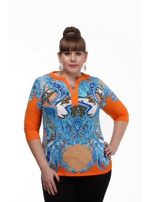 Кофточка Dream World. Цвет: синий, оранжевый