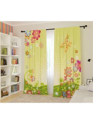 Шторы для детской Полянка с бабочками Сирень. Цвет: зеленый, светло-желтый, светло-зеленый