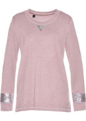 Свитшот с пайетками (розовый матовый/серебристый) bonprix. Цвет: розовый матовый/серебристый