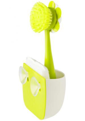 Щетка и губка для мытья посуды на подставке FLOR VIGAR. Цвет: белый (белый, зеленый)