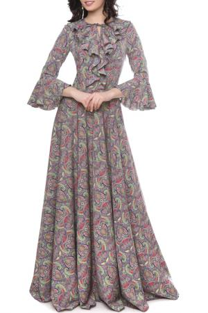 Длинное платье с клешенными рукавами Olivegrey. Цвет: сине-салатовый