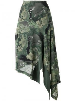 Асимметричная юбка с принтом Antonio Marras. Цвет: зелёный