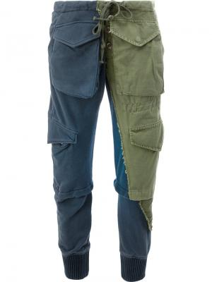Двухцветные брюки в стиле милитари Greg Lauren. Цвет: зелёный
