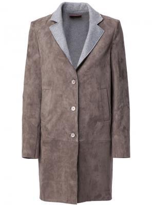 Пальто с контрастными лацканами Stouls. Цвет: серый