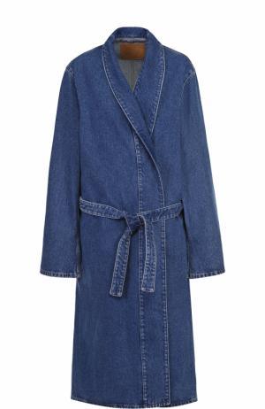 Джинсовое пальто прямого кроя с поясом Balenciaga. Цвет: темно-синий