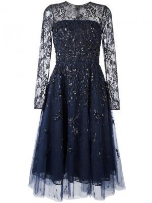 Платье с пайетками Oscar de la Renta. Цвет: синий