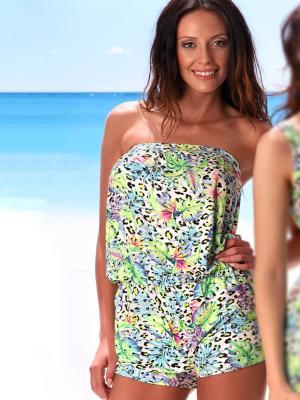 Комбинезон пляжный Jolidon. Цвет: салатовый,голубой