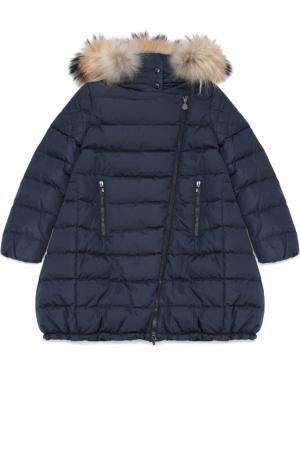Пуховое пальто с капюшоном Moncler Enfant. Цвет: темно-синий