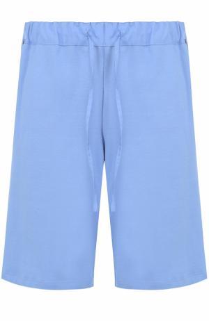Хлопковые домашние шорты свободного кроя с поясом на резинке Hanro. Цвет: синий