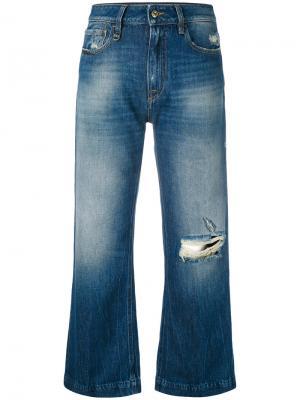 Укороченные джинсы с потертой отделкой Cycle. Цвет: синий