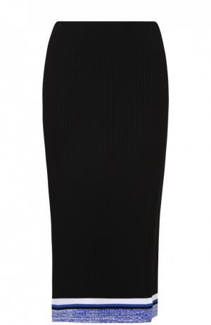 Вязаная юбка-карандаш с контрастной отделкой и высоким разрезом Rag&Bone. Цвет: черный