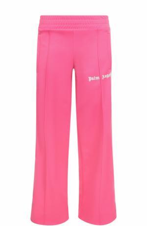 Укороченные расклешенные брюки с лампасами Palm Angels. Цвет: розовый