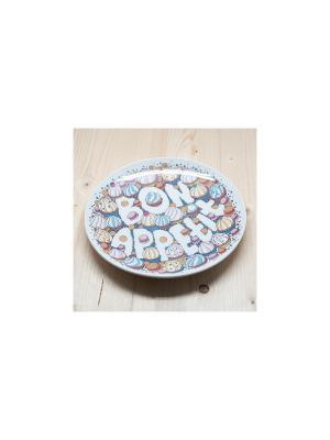 Тарелка Бон аппетит! Пирожные Kawaii Factory. Цвет: кремовый, розовый