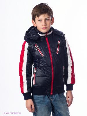 Куртка Cherche. Цвет: темно-синий, красный