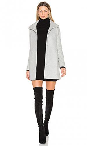 Трапециевидное пальто с высоким воротом OLCAY GULSEN. Цвет: серый