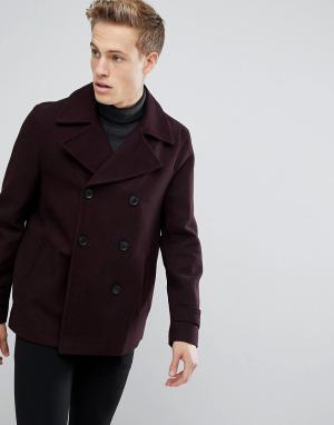 Burton Menswear Бордовый бушлат с добавлением шерсти. Цвет: красный