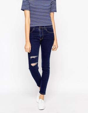 Tired Of Tokyo Облегающие джинсы с прорехами. Цвет: черный