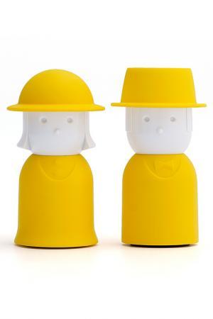 Солонка+перечница Qualy. Цвет: желтый