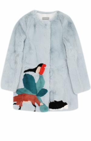 Шуба из меха кролика с принтом Yves Salomon Enfant. Цвет: голубой