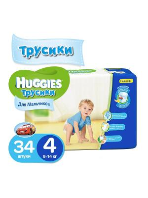 Подгузники-трусики размер 4 9-14кг 34шт для мальчиков HUGGIES. Цвет: синий