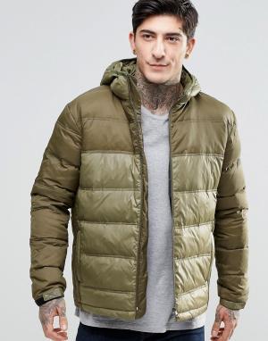 Fat Moose Стеганая куртка с капюшоном Cosmo. Цвет: зеленый