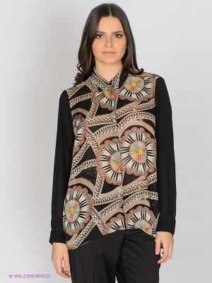 Блузка JUNAROSE. Цвет: черный, коричневый, красный