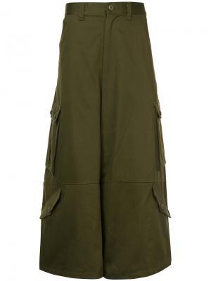 Укороченные брюки карго Kidill. Цвет: зелёный