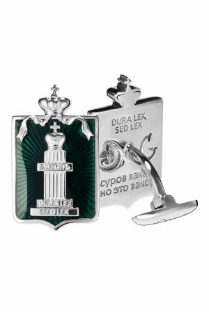 Серебряные запонки «Законъ» Gourji. Цвет: зеленый
