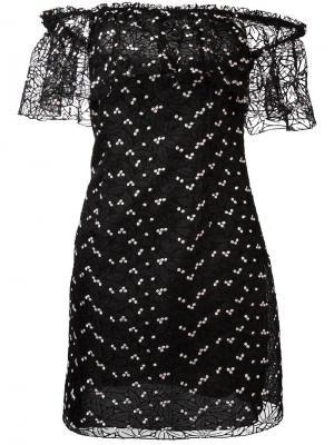 Мини-платье с открытыми плечами Giamba. Цвет: чёрный