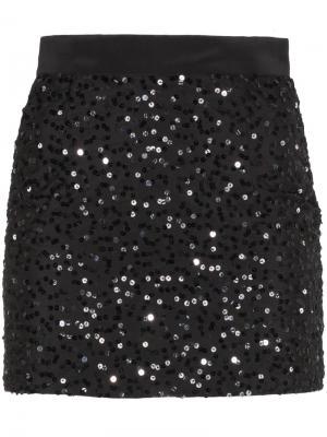 Мини-юбка с пайетками Ashish. Цвет: чёрный
