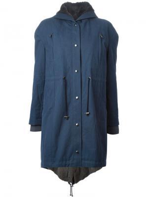 Пальто с капюшоном Liska. Цвет: синий