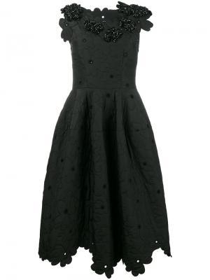 Платье с цветочным узором Simone Rocha. Цвет: чёрный