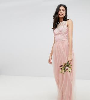 Chi London Tall Платье макси без рукавов с кружевом и юбкой из тюля Tal. Цвет: розовый