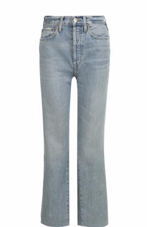 Укороченные расклешенные джинсы Re/Done. Цвет: голубой