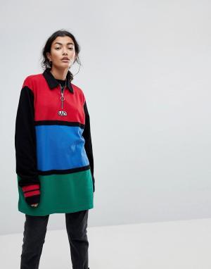 Lazy Oaf Оверсайз-рубашка в стиле колор блок с молнией. Цвет: мульти
