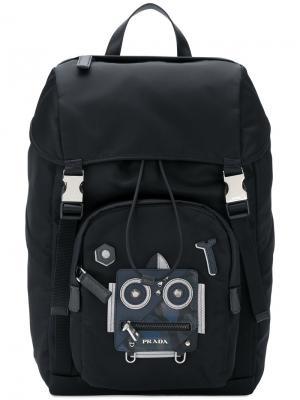 Рюкзак с принтом робота Prada. Цвет: чёрный