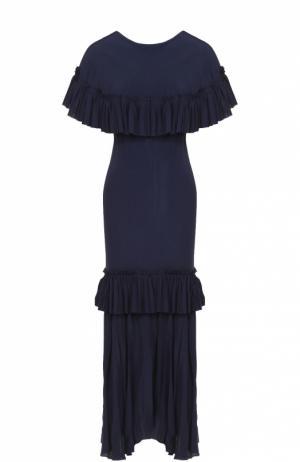 Платье-макси с оборками Marni. Цвет: синий
