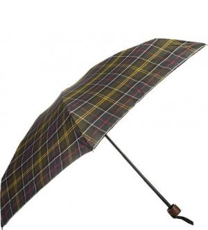 Складной зонт с куполом в клетку Barbour. Цвет: хаки