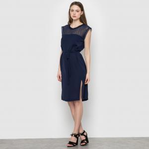 Платье с пышными рукавами SUNCOO. Цвет: синий морской