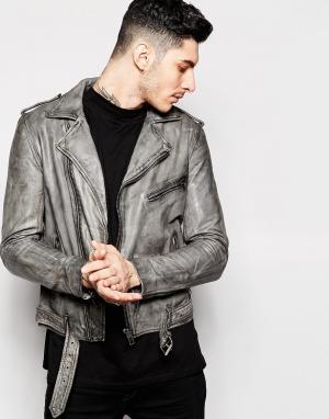 Black Dust Кожаная байкерская куртка. Цвет: серый