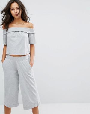 Lazy Days Серая меланжевая пижама с кюлотами. Цвет: серый