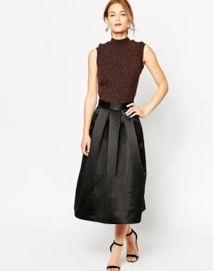 Lulu & Co Нарядная юбка миди Duchess. Цвет: черный