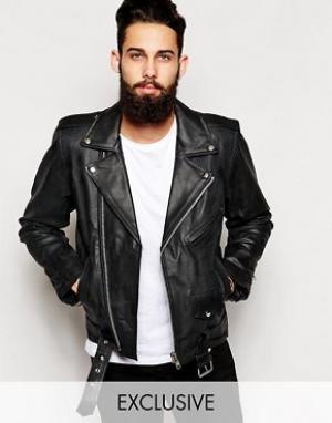Reclaimed Vintage Черная кожаная байкерская куртка Inspired. Цвет: черный