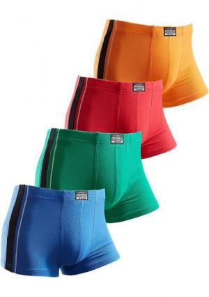 Боксерские трусы, 4 штуки. Цвет: 2х черный+2х серый меланжевый, 4х черный, красный+желтый+зеленый+синий