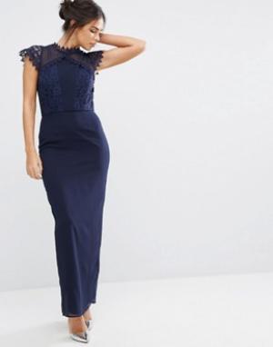 Elise Ryan Платье макси с кружевной отделкой. Цвет: темно-синий