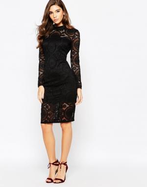Bardot Кружевное платье с высокой горловиной. Цвет: черный